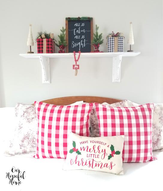 red buffalo check pillows Christmas gifts trees shelf