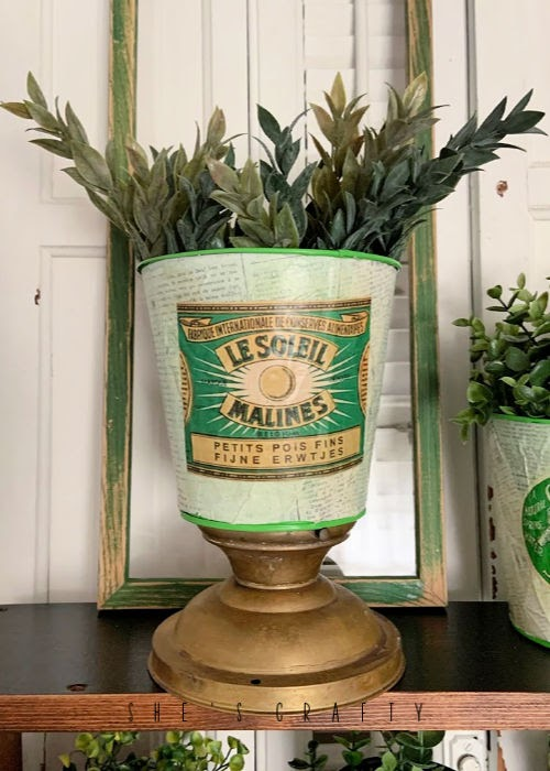 Faux Vintage Can Display  |  how to display vintage cans and plant holders