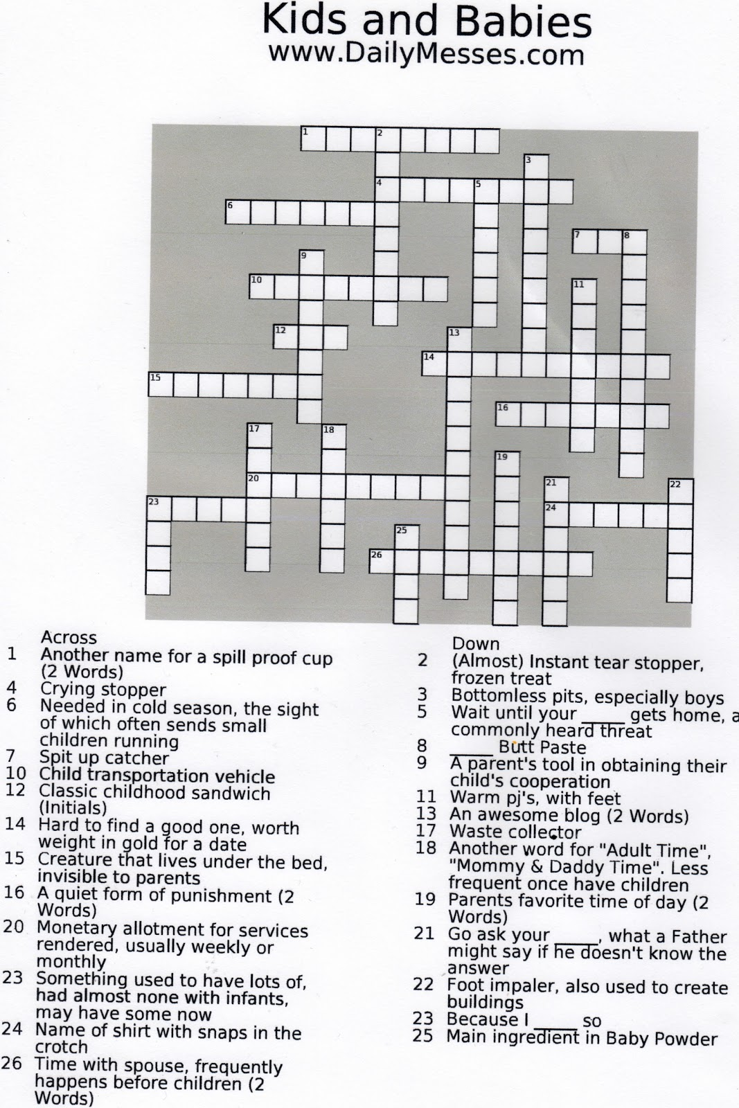 Daily Messes Kids And Babies Crossword Puzzle