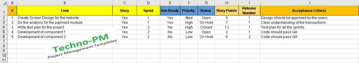 Product Backlog Template How To Build And Prioritize Agile Product Backlog Project Management Templates