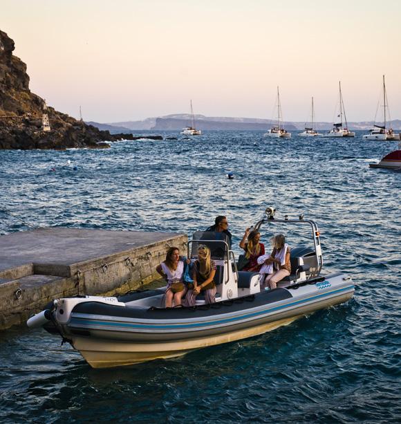 Bacon on the beech: Armeni Restaurant, Oia, Santorini, Greece