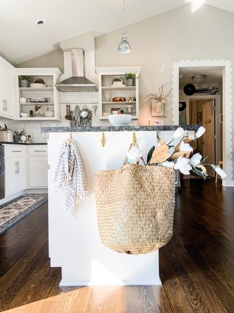 kitchen organization with hooks on kitchen island