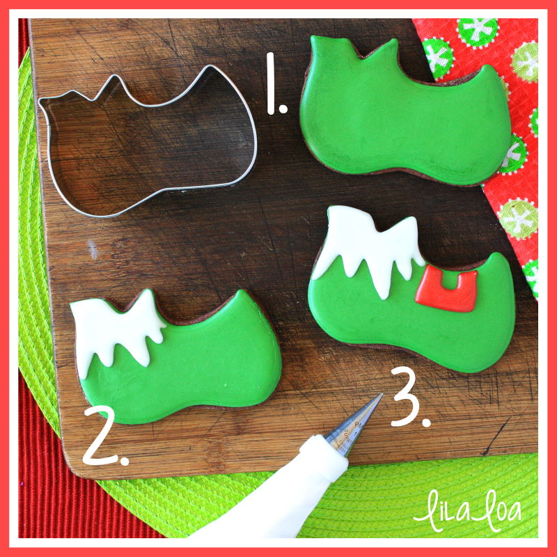 Elf shoe decorated sugar cookies for Christmas and winter - a cookie decorating tutorial.  Christmas and elf cookie ideas #cookiedecorating #lilaloa