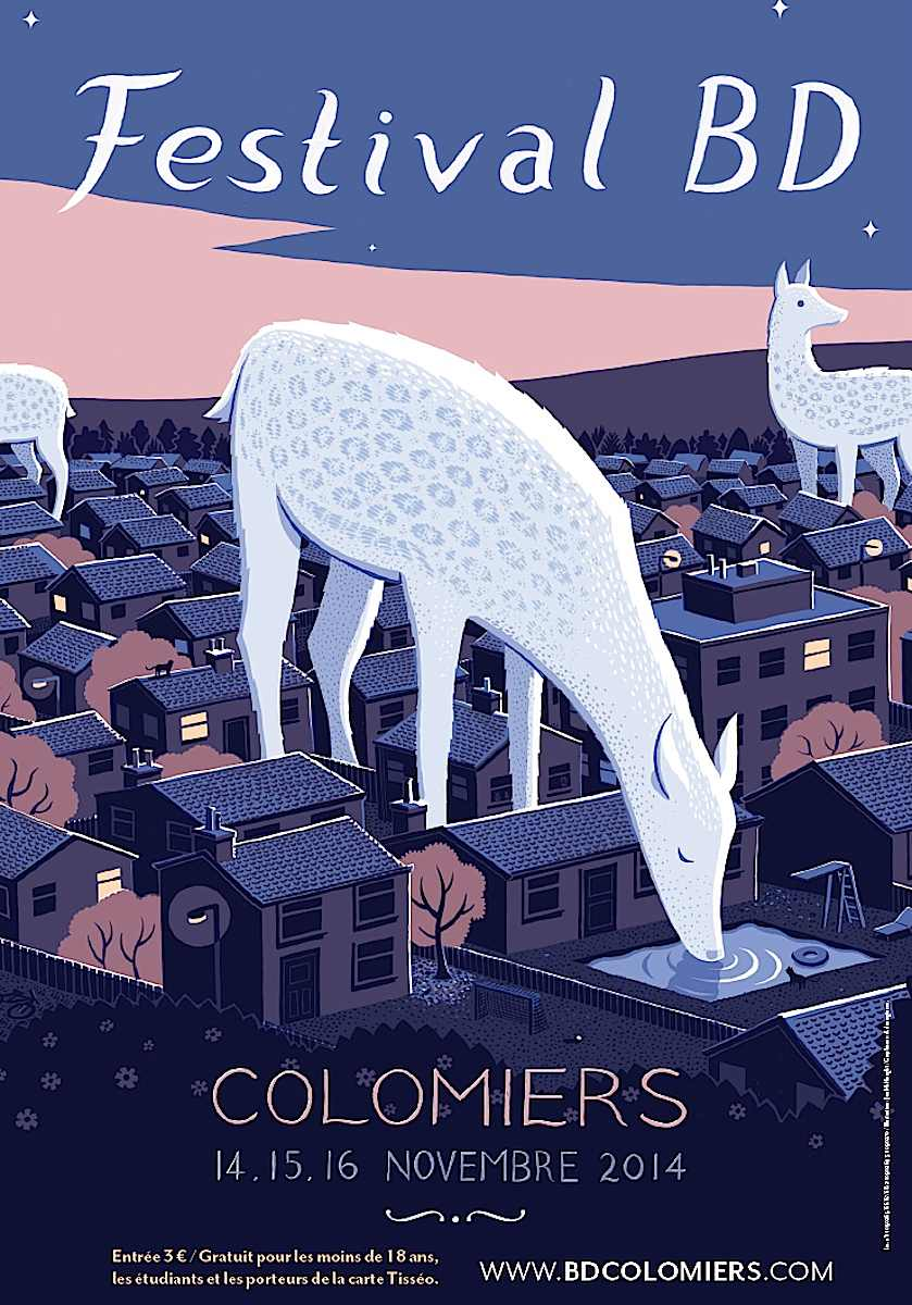 a Jon McNaught illustration 2014, giant deer in the neighborhood at night, Festival BD Colomiers