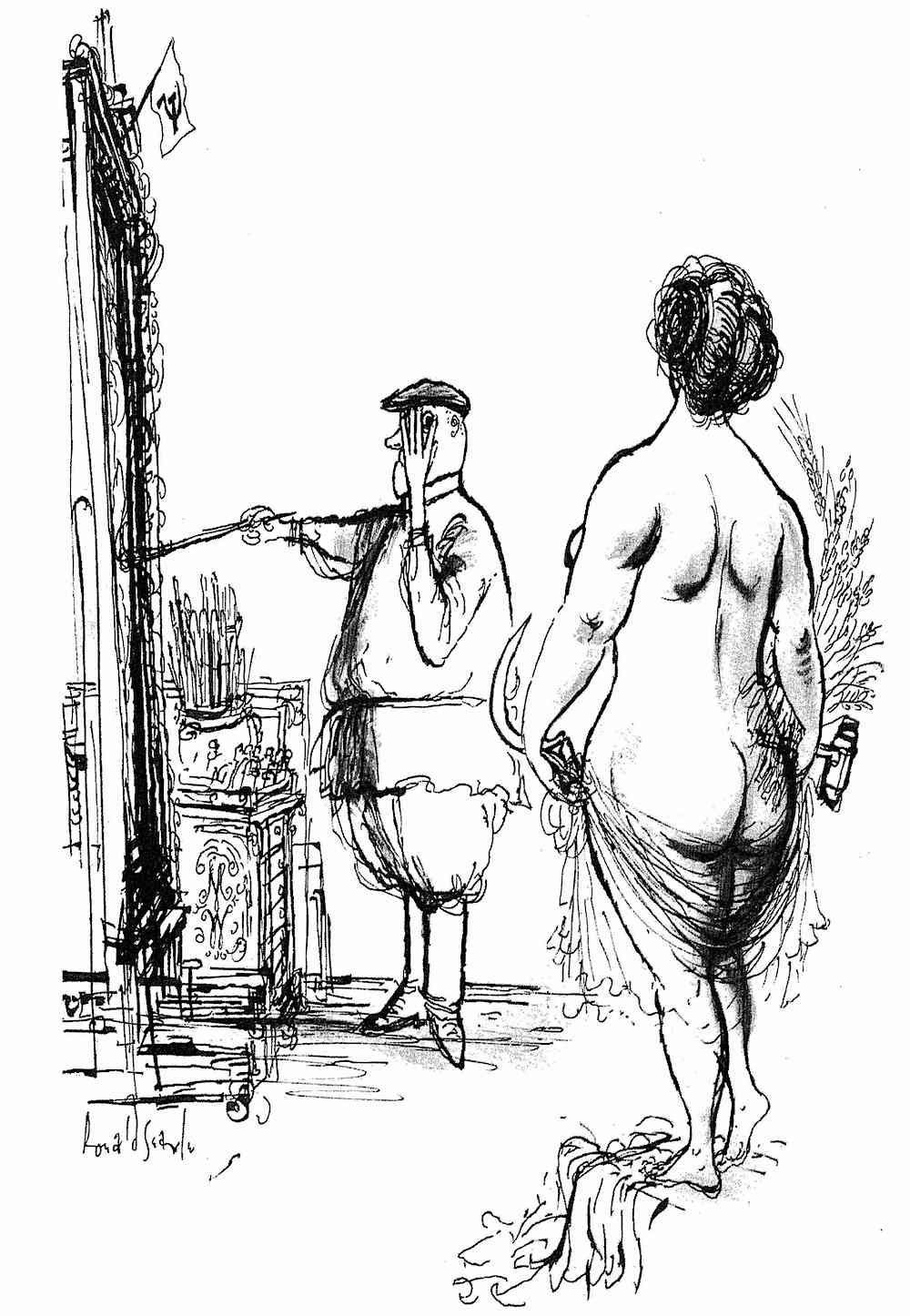 a shy Soviet painter and his nude model by Ronald Searle