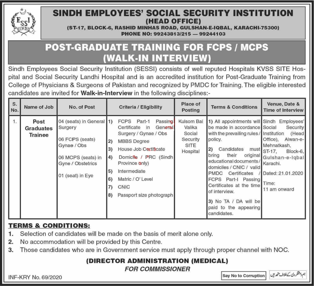 Sindh Employees Social Security Institution SESSI Jobs 2020