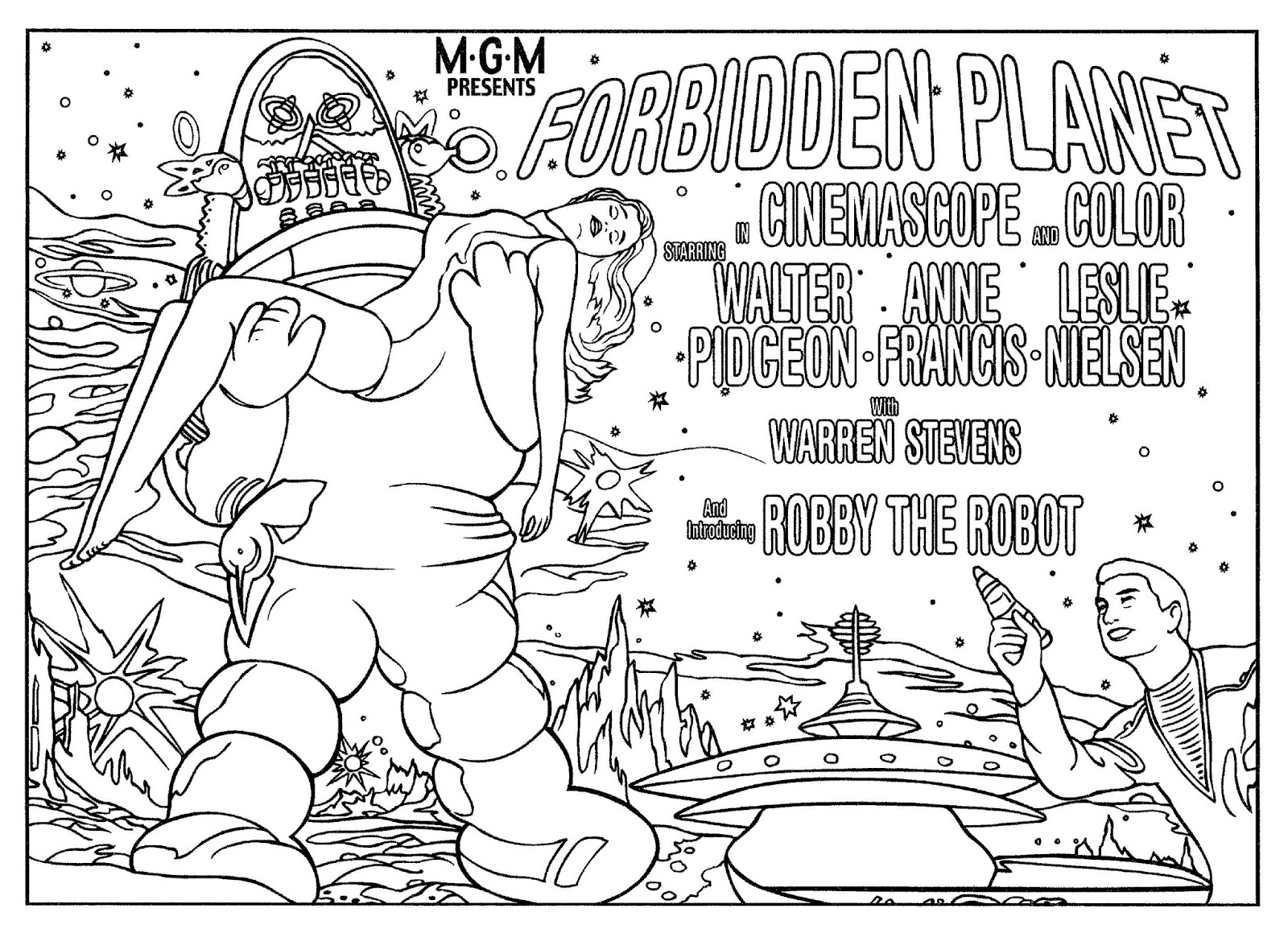 Forbidden planet coloring page