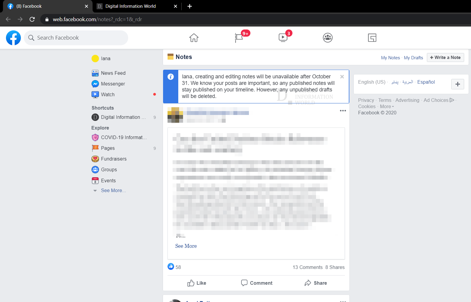 Facebook is sunsetting its Notes feature for all on Oct 31