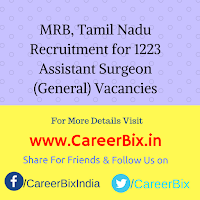 MRB, Tamil Nadu Recruitment for 1223 Assistant Surgeon (General) Vacancies