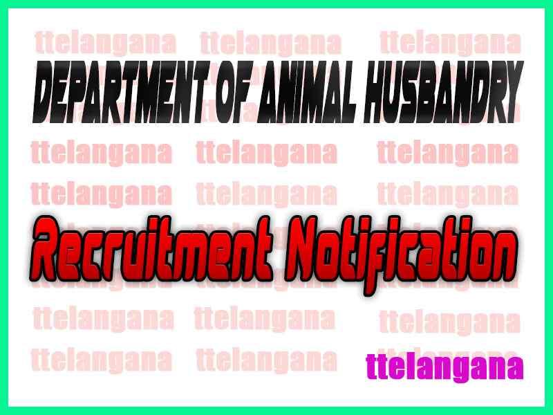 Department of Animal Husbandry Recruitment Notification