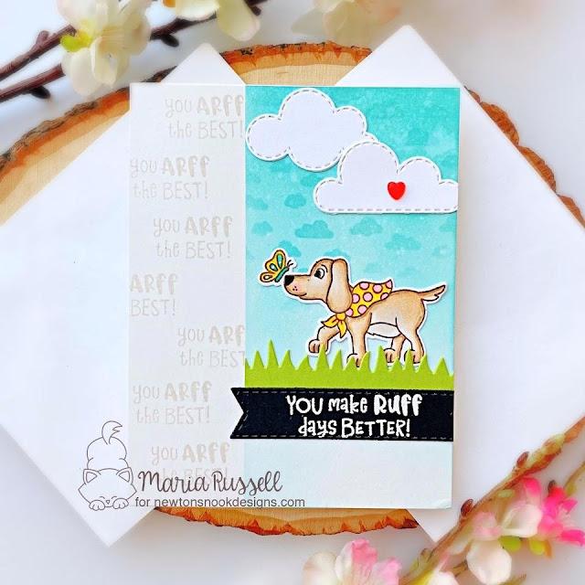 Puppy Card by Maria Russell   Puppy Friends Stamp Set, Petite Clouds Stencil, Sky Scene Builder Die Set, Land Borders Die Set and Banner Trio Die Set by Newton's Nook Designs #newtonsnook