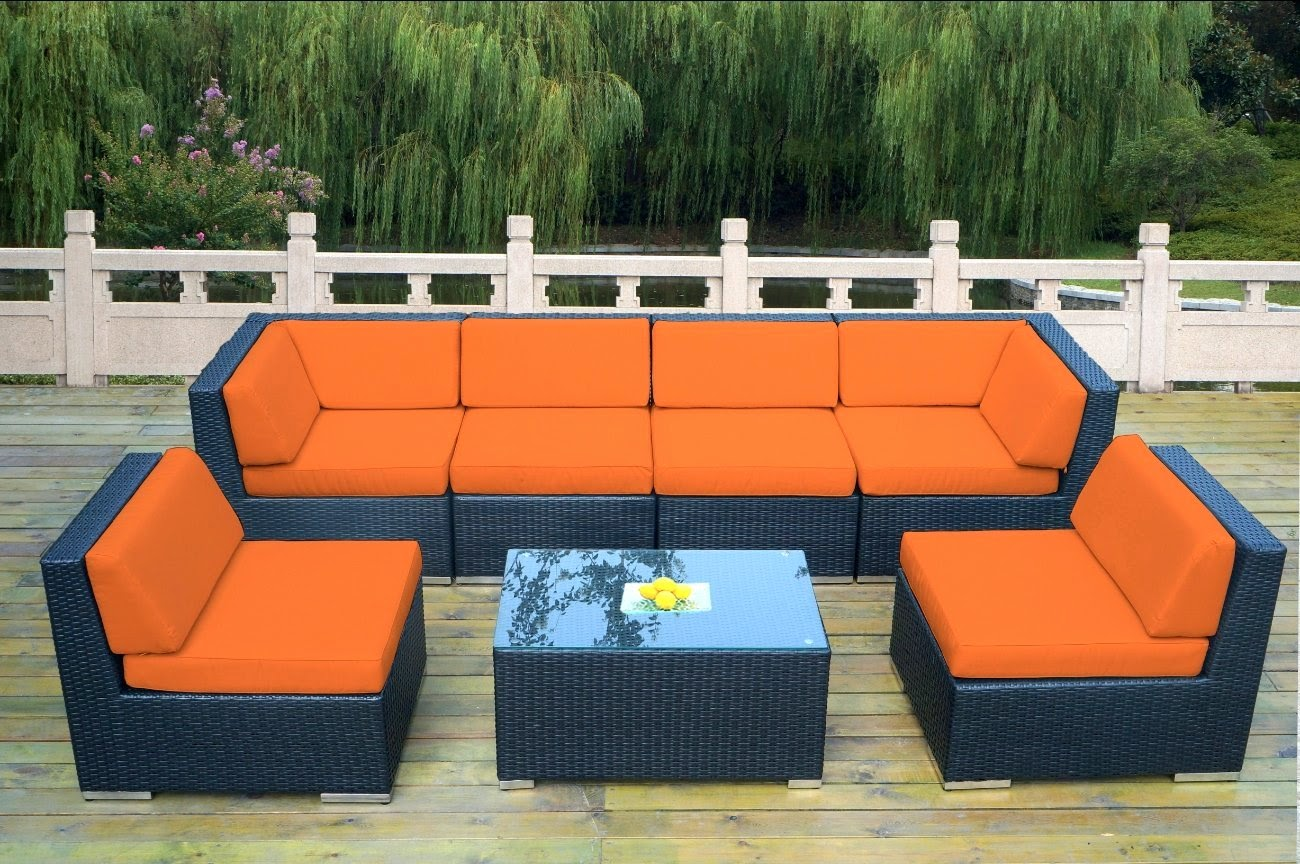 High Quality Outdoor Patio Wicker 7 Piece Gorgeous Couch Set
