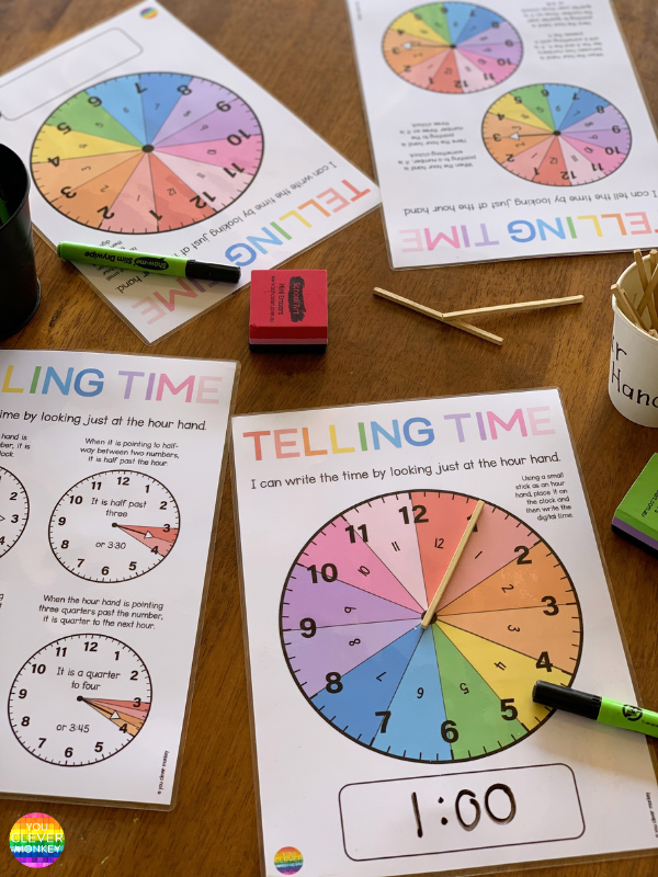 LEARNING TO TELL TIME TO THE QUARTER HOUR - teaching ideas and printable resources to help you teach the how to tell time  to the quarter hour.
