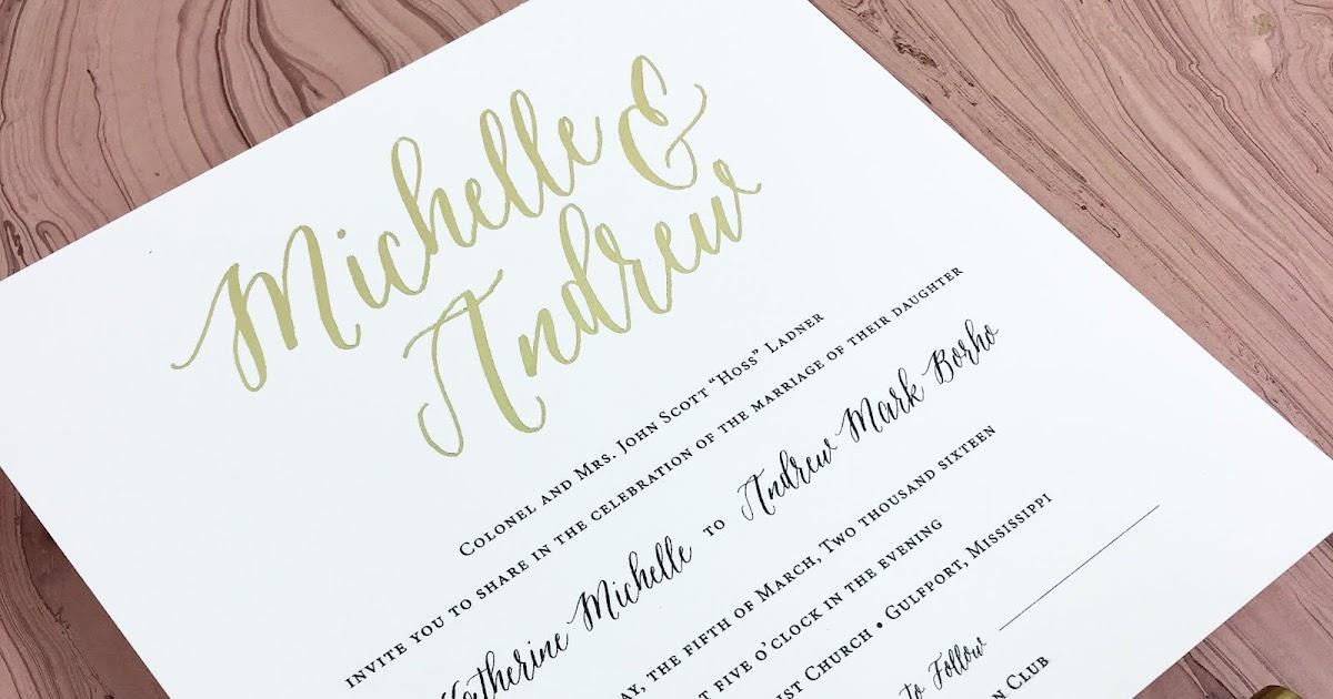 Wedding Invitations Jackson Ms: Michelle Ladner And Andrew Borho Wedding Invitations