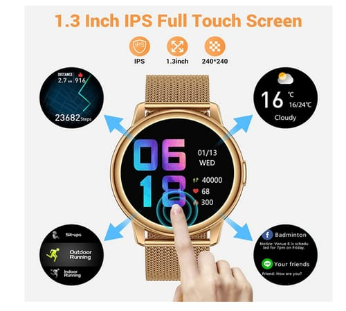 CanMixs B83gold-b Smart Watch for Android Phones iOS