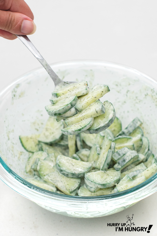 Keto cucumber salad with mayo