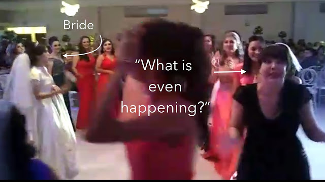 Girls march around bride at wedding