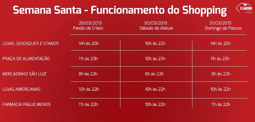 2580b8ec5 HORÁRIO DE FUNCIONAMENTO DO SHOPPING DURANTE O FERIADO DA SEMANA SANTA