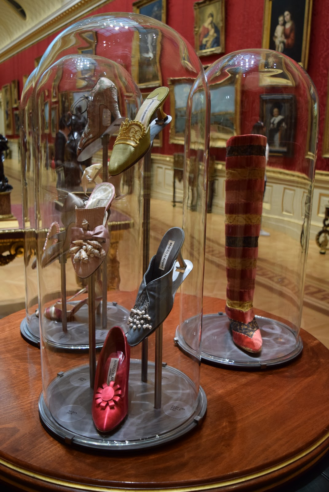 manolo blahnik luxury shoes on display
