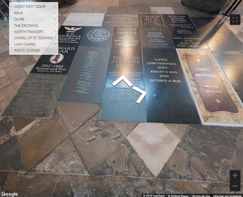 Poet's Corner na Abadia de Westminster. Foto: reprodução do tour virtual no site da Abadia