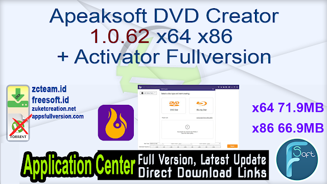 Apeaksoft DVD Creator 1.0.62 x64 + Activator Fullversion
