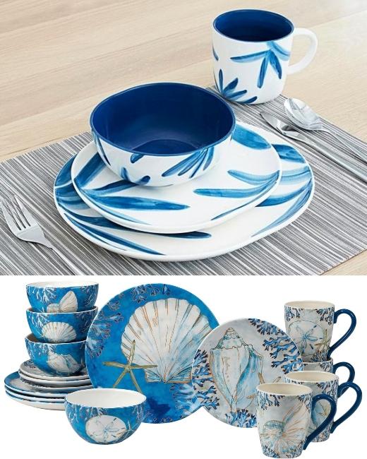Blue Aqua Coastal Beach Shells Dinnerware Sets