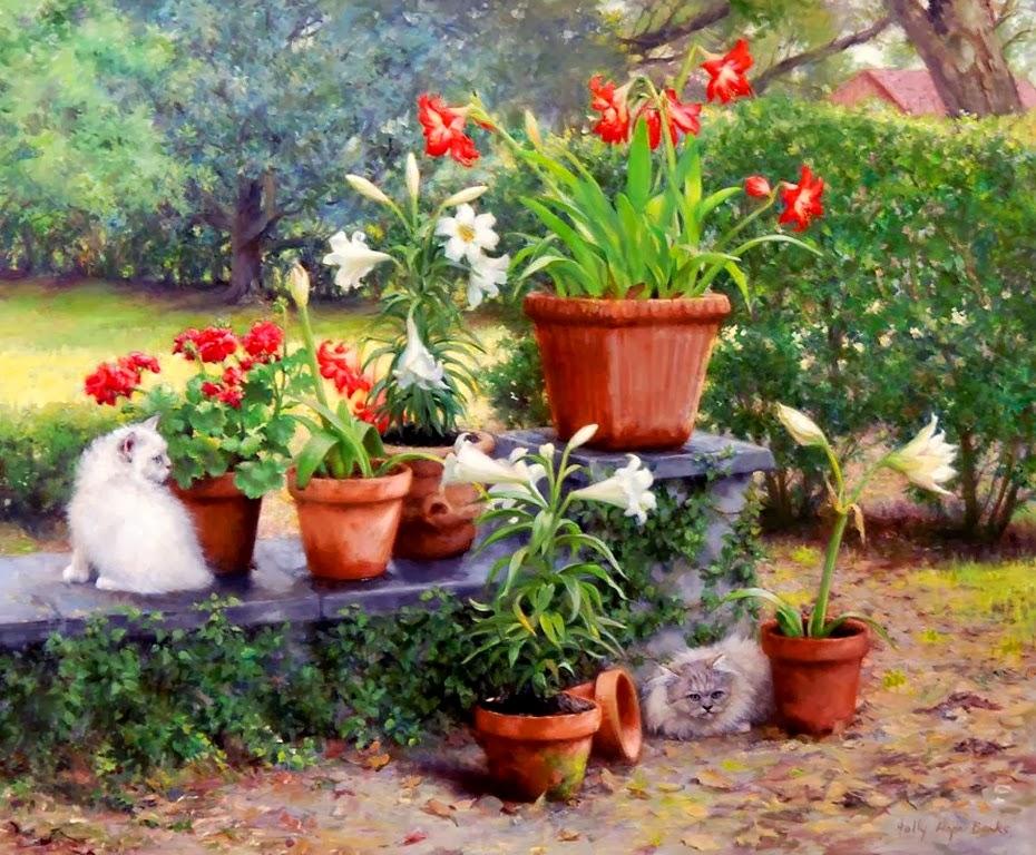 Imagenes De Jardines Con Flores: Imágenes Arte Pinturas: Pinturas Realistas De Jardines Y