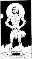Superhero-like bare-chested deity by Elmore