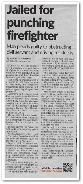 Jailed for punching firefighter - Keratan akhbar The Star 21 Oktober 2020