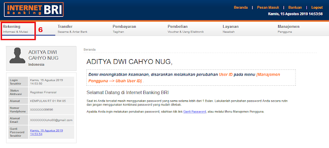 Cara Cek Mutasi Transaksi Rekening BRI di Internet Banking BRI - Menu Rekening Internet Banking BRI