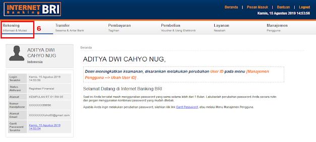 Cara Cek Saldo Rekening BRI di Internet Banking BRI - Menu Rekening Internet Banking BRI