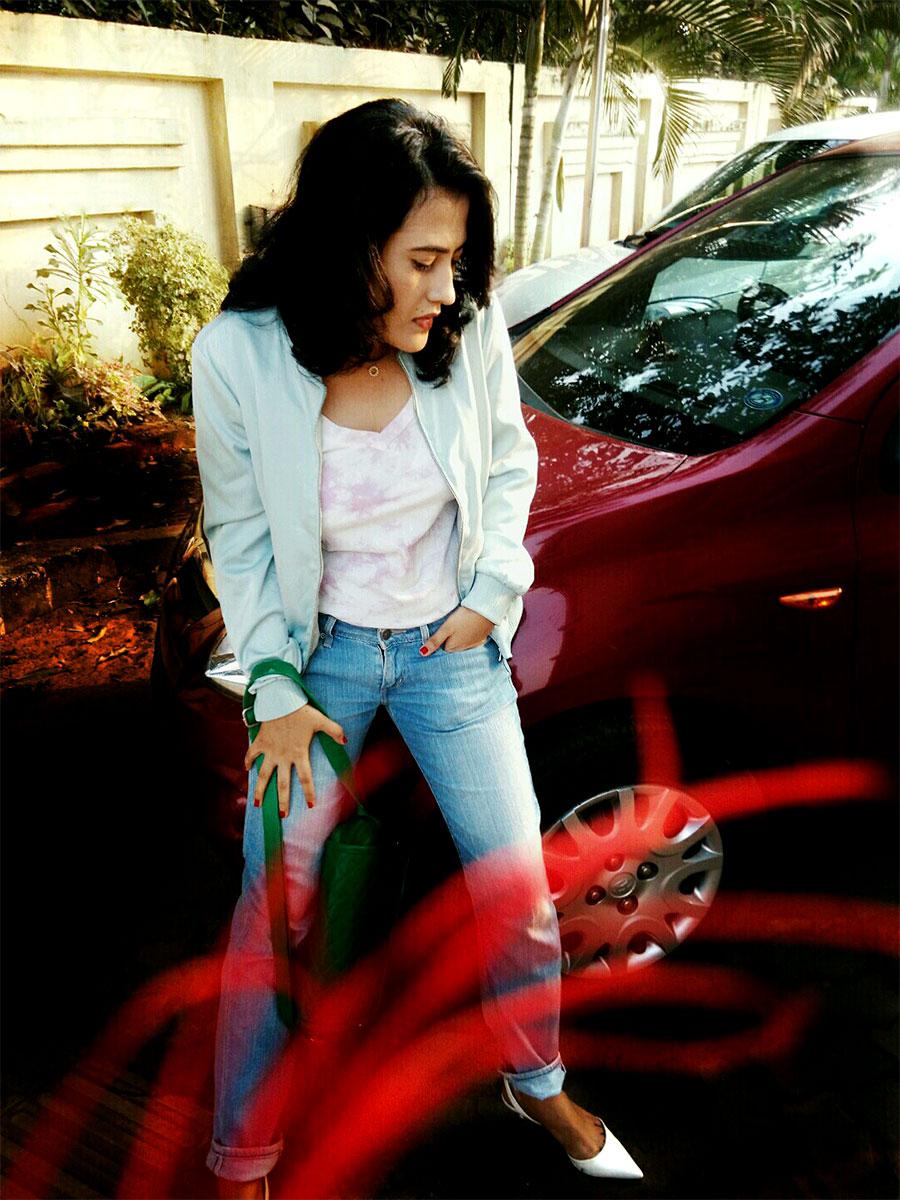 Chiara Ferragni x Levi's 501 Boyfriend Jeans,tie dye lavender Tee ,Zara bomber Jacket,Zara White slingback kitten heel,Dkny Bryant Park Saffiano Crossbody