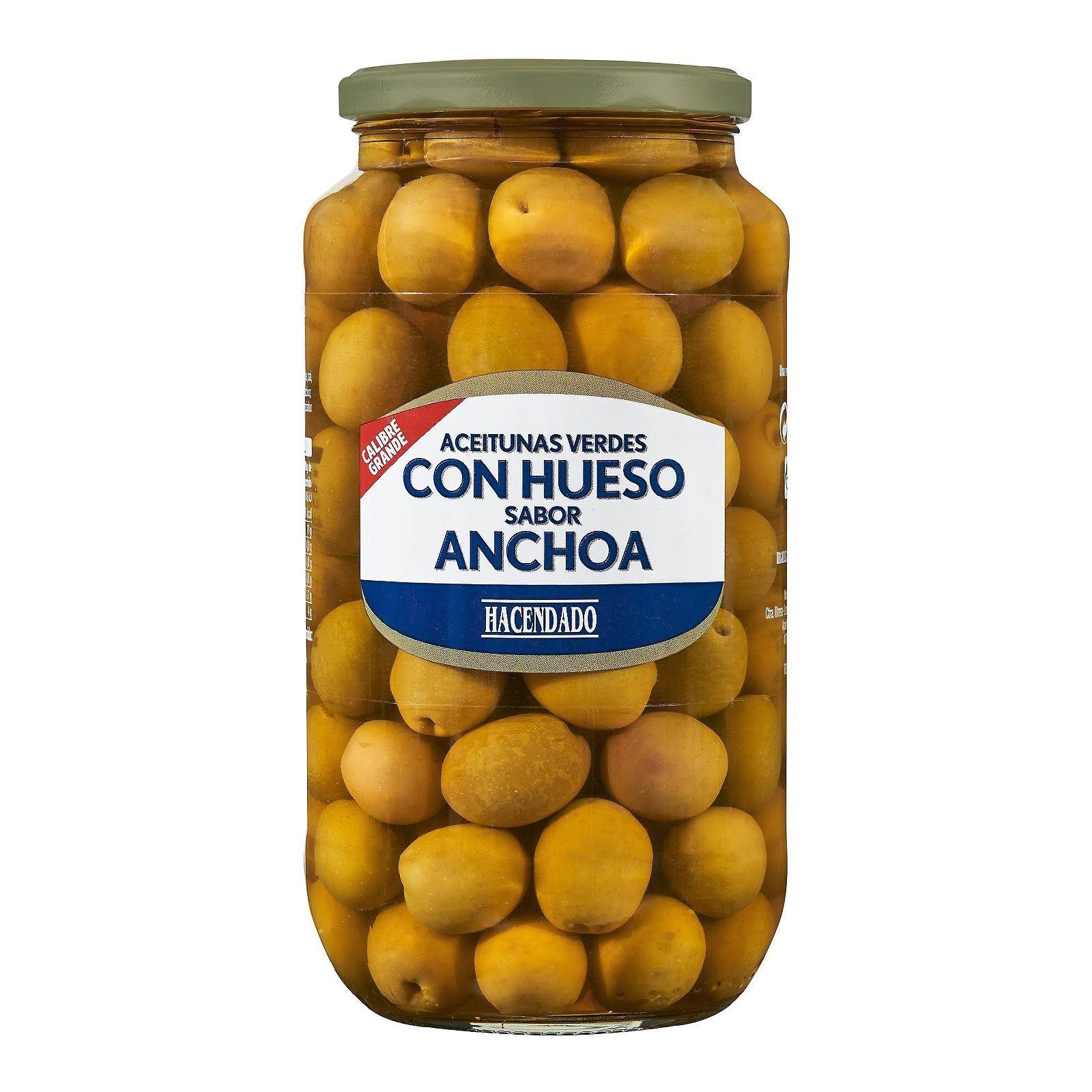 Aceitunas verdes manzanilla con hueso sabor anchoa calibre grande Hacendado
