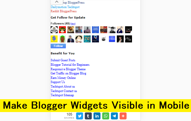 How to make Blogger blog widgets visible in Mobile devices