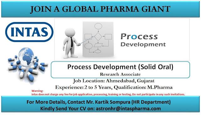 Intas Pharma Urgent Openings for Formulation Development Process Development Apply Now