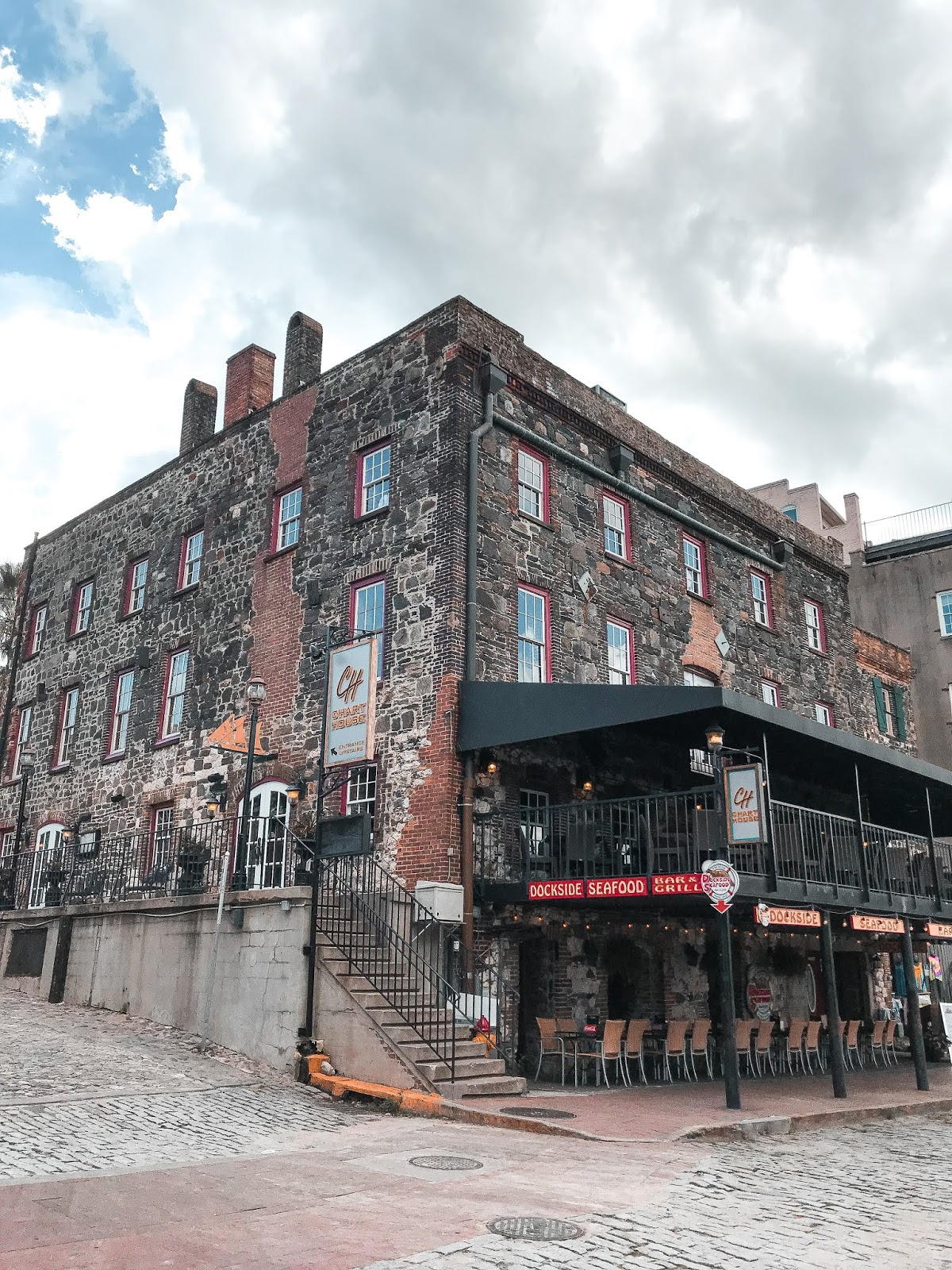 Old-century building on River Street
