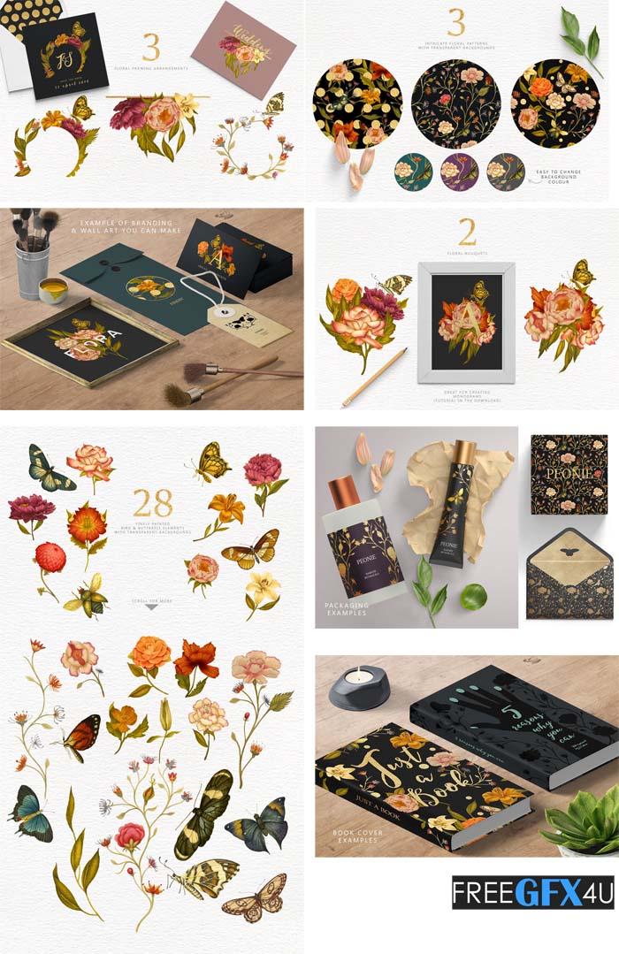 Flowers & Butterflies Clipart