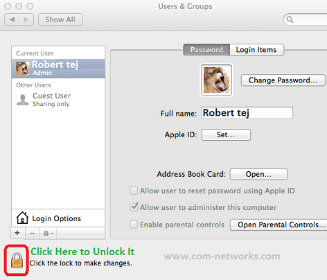 Create New User account in Mac OS X