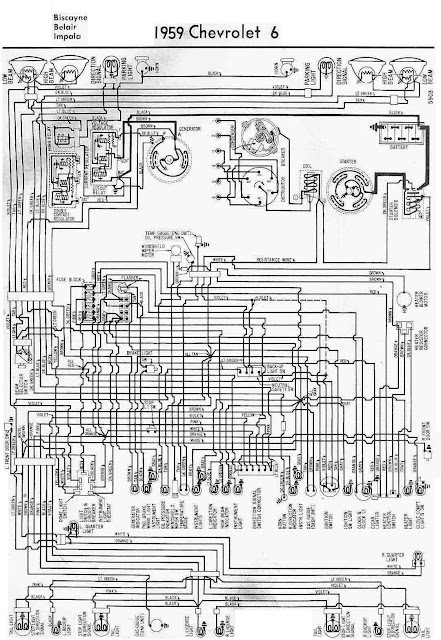 Chevrolet 6 Biscayne, Belair, Impala 1959 Complete Wiring Diagram | All about Wiring Diagrams