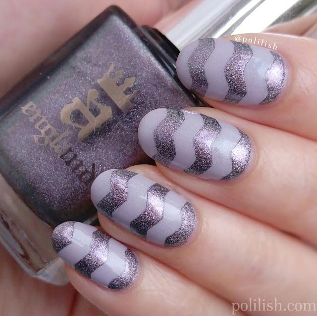 Zig zag nail art with A-England Cathy and Kalinka   polilish