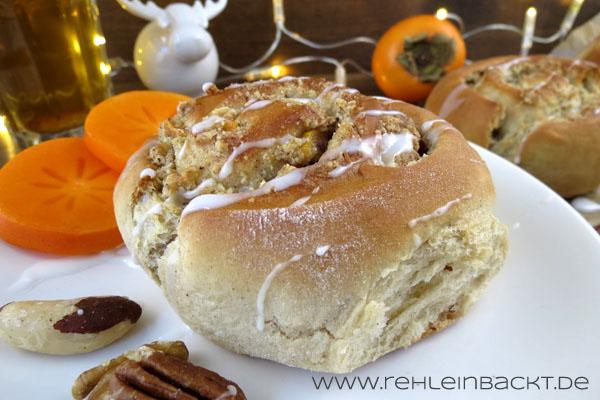 Gewürzschnecken mit Nuss-Sharonfrucht-Füllung zu Weihnachten | Foodblog rehlein backt