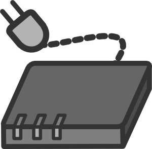 Black modem Clipart with plugin