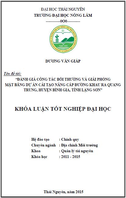Đánh giá công tác bồi thường và giải phóng mặt bằng dự án cải tạo nâng cấp đường Khau Ra - Quang Trung huyện Bình Gia tỉnh Lạng Sơn