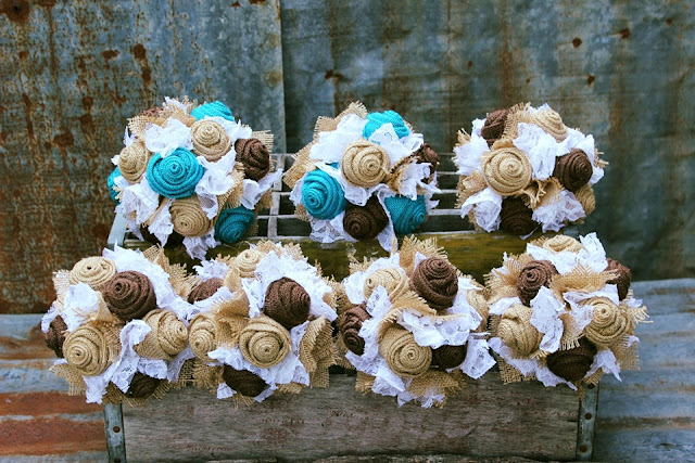 rustic burlap wedding bouquets