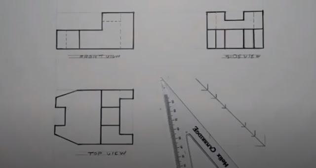 استنتاج المسقط الأٌفقي مع رسم المسقط الرأسي بمقياس رسم 1:10 .