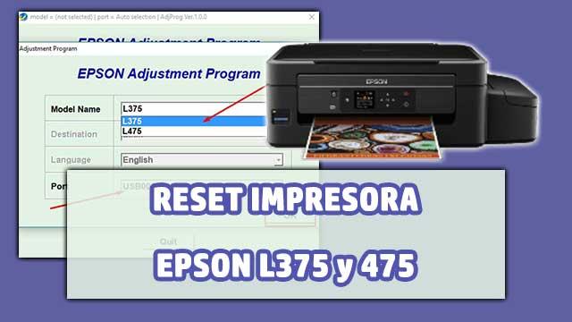 resetear almohadillas de la impresora EPSON L375 y 475