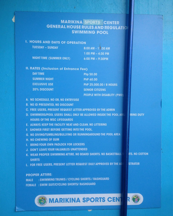 Detailed guidelines of the Marikina Sports Center swimming pool