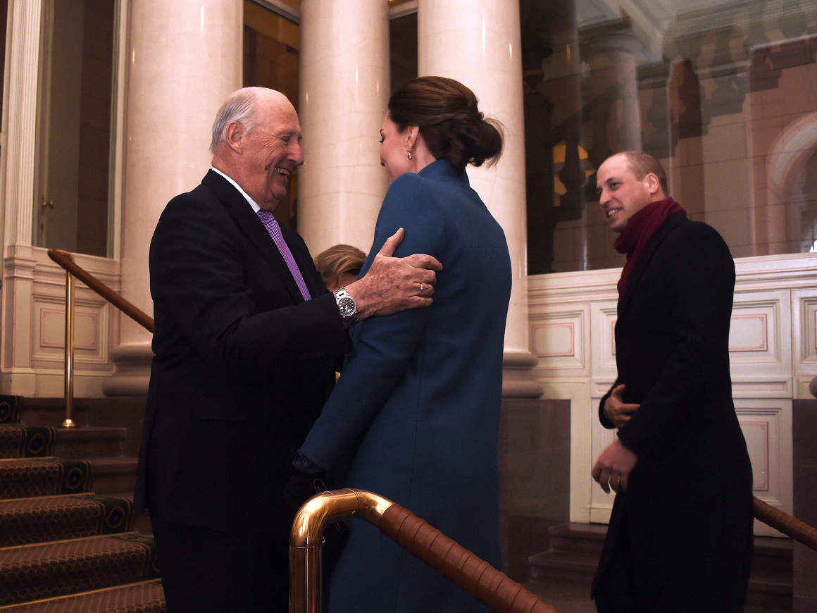 King Herald of Norway welcoming The Duke and Duchess of Cambridge in February 2018