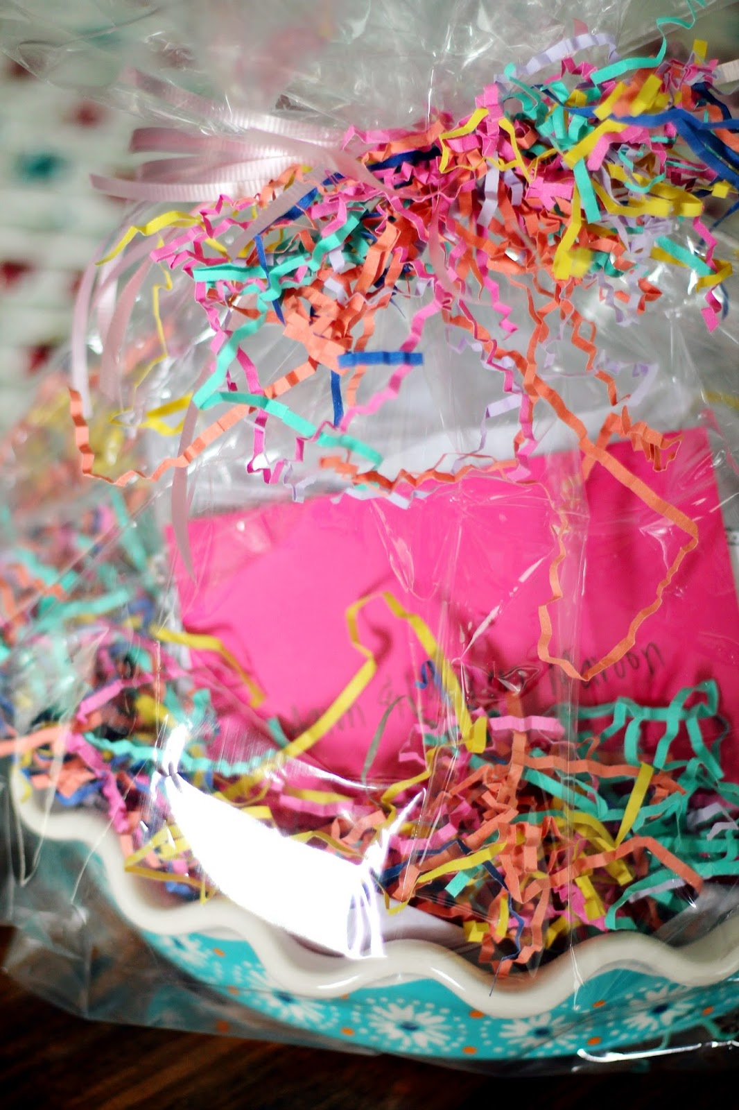 How to gift wrap a pie plate louisiana bride the older woman suggested i get a large clear cellophane bag tissue paper and tons of that easter basket looking brightly colored stringy paper stuff negle Choice Image