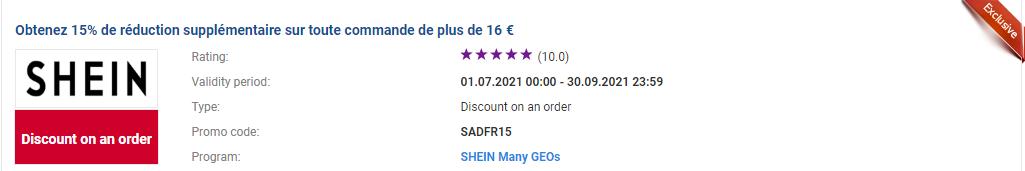 Obtenez 15% de réduction supplémentaire sur toute commande de plus de 16 €
